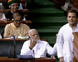 Rahul Gandhi hugs PM Modi after sharp attack