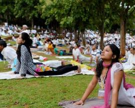 Ahead of international Yoga day, hundreds throng Indian Embassy in Kathmandu for yoga event