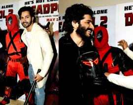 Varun Dhawan at the screening of 'Deadpool 2' with Indian superhero Insaaf from 'Bhavesh Joshi'