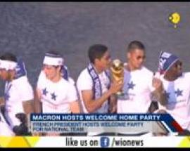 President Macron hosts welcome home party for national football team
