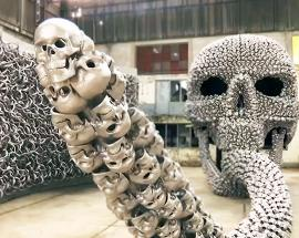 With fearsome metal skulls and horns, Turkish artist re-interprets ancient myths